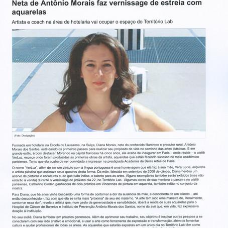 Neta de Antônio Morais faz vernissage de estreia com aquarelas