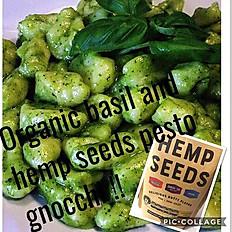 gnocchi hemp seeds and basil pesto