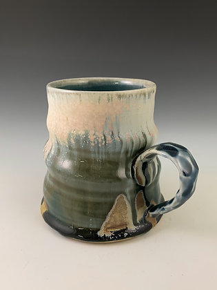Swirled Mug with Pinched Handle