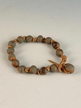 Tobacco Bead & Knot Bracelet