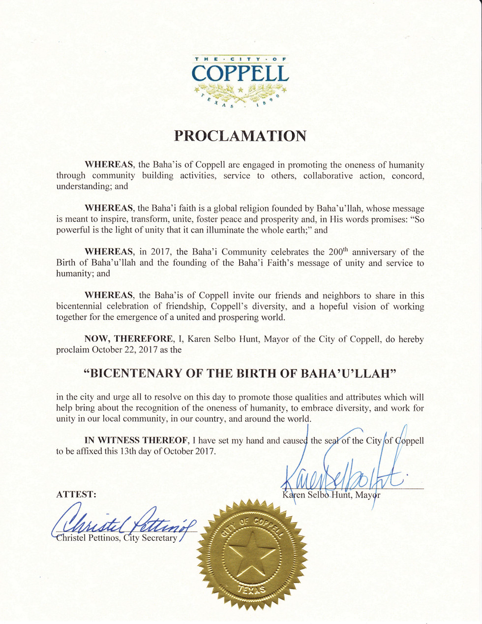 """The City of Coppell Proclamation of Oct 22, 2017 as the """"Bicentenary of the Birth of Baha'u"""