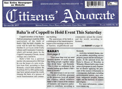 Citizens' Advocate article about the Baha'i Faith
