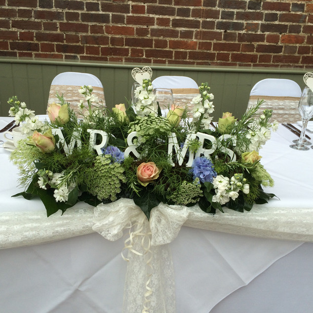 Top table - Mr & Mrs arrangement