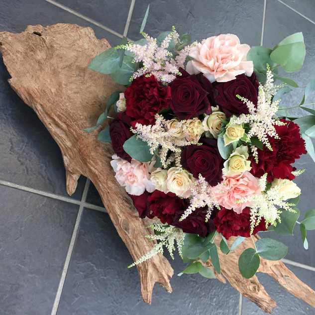 Brides bouquet - red and peach