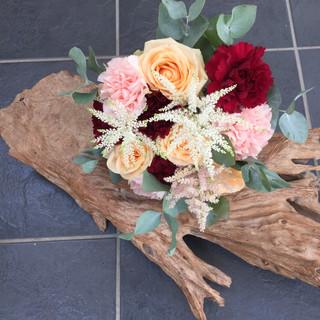 Red & peach bridesmaid bouquet