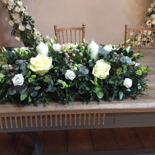 Top table - white & greens