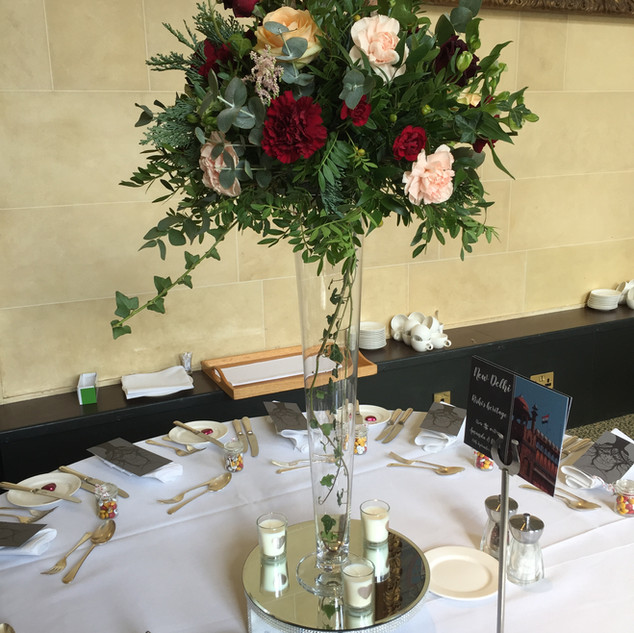 Table Centre - red & peach