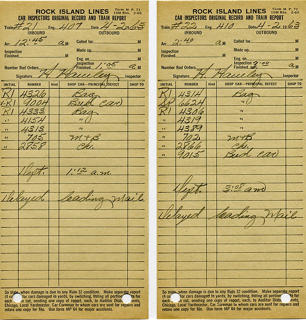 Rock Island Passenger Consists 1963-Apr-