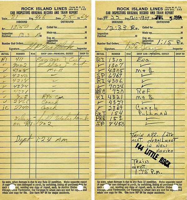 Rock Island Passenger Consists 1964-July