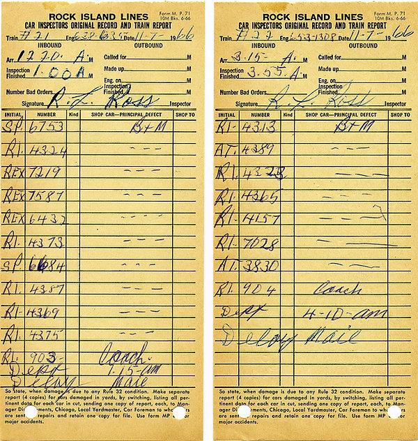 Rock Island Passenger Consists 1966-Nov-