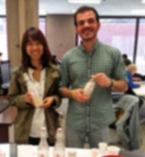 miruk peanut milk founders, Giorgio Parlato & Thuy Nguyen,  sampling their delicious products at Syracuse University