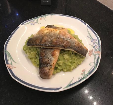 Sea Bass and Pea Puree Risotto