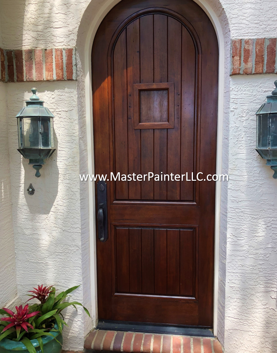 Front door stained