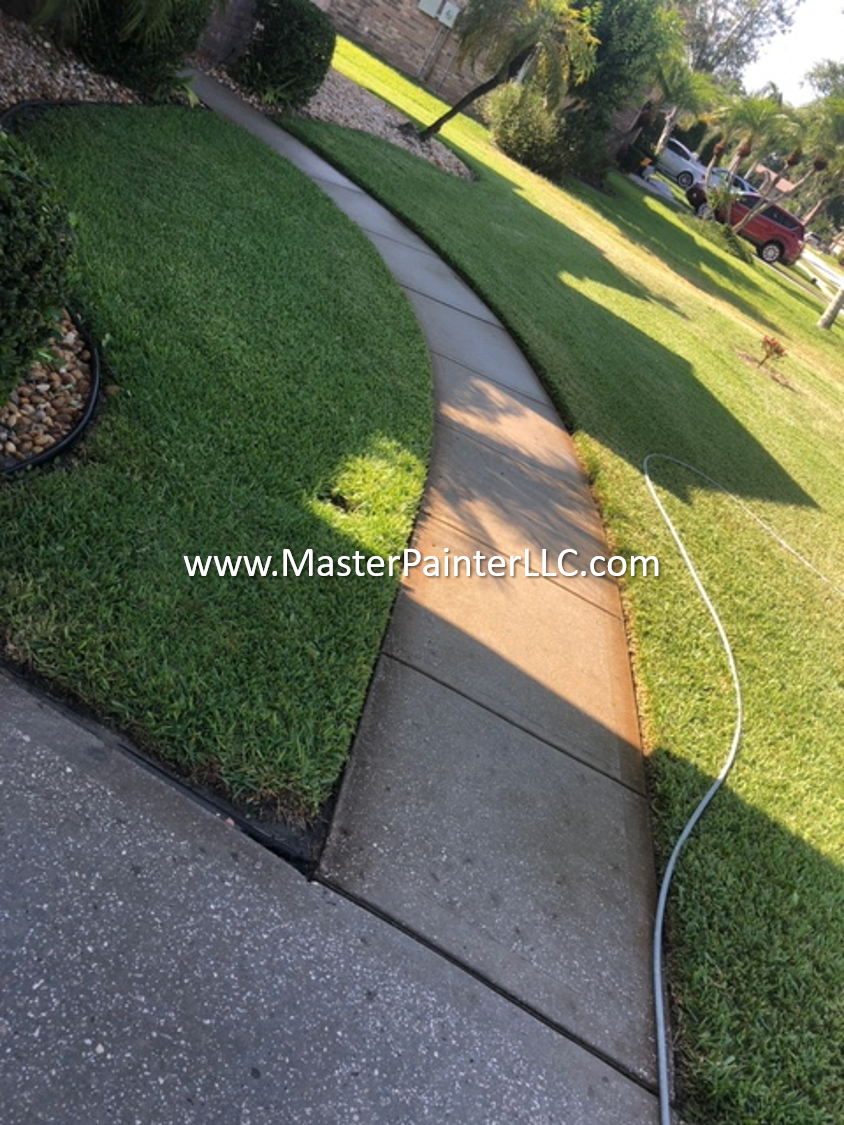 Sidewalk pressure washed