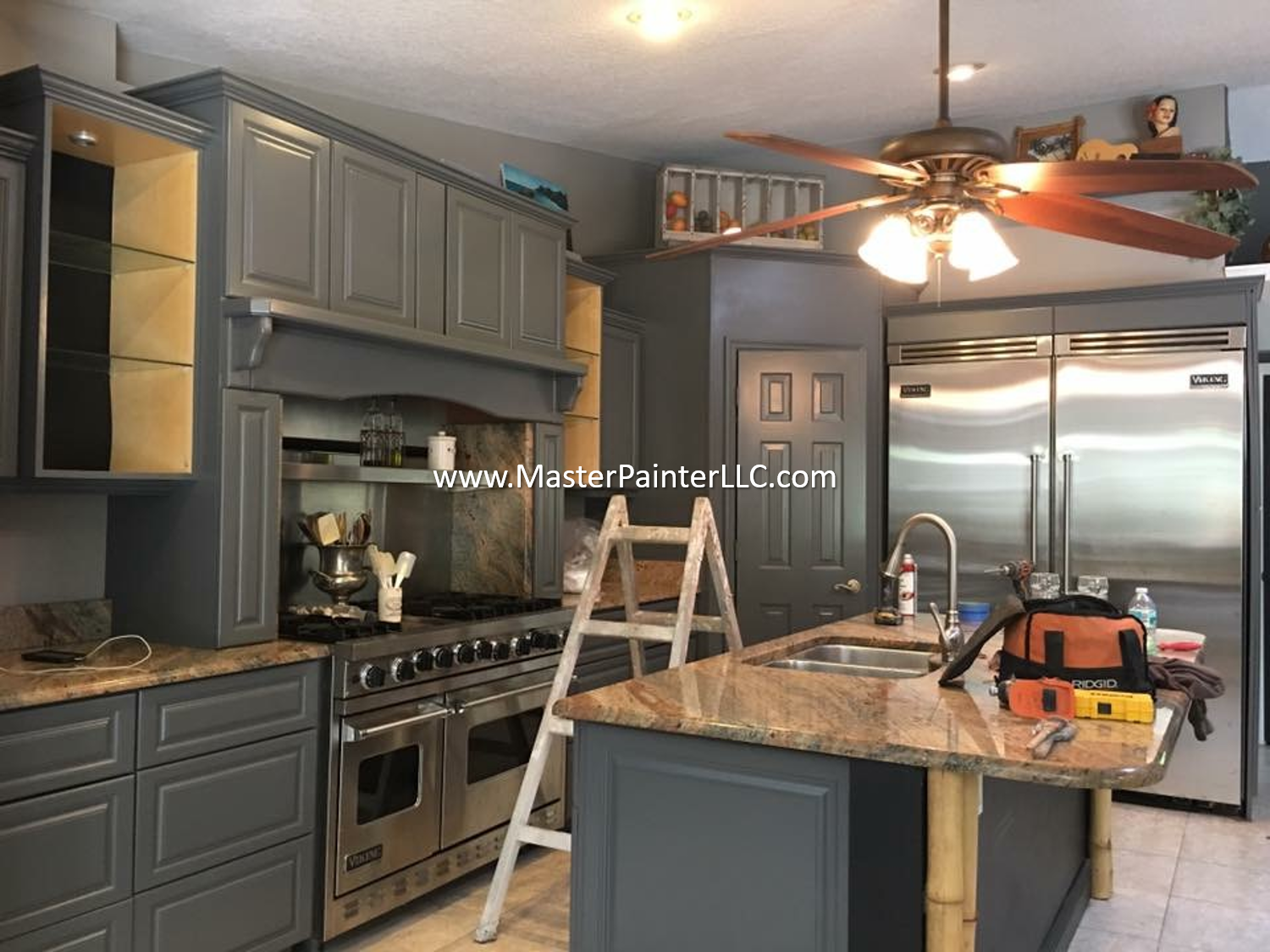 Kitchen cabinets sprayed gray