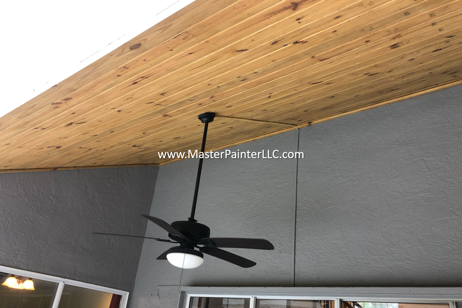 Porch wood ceiling stained