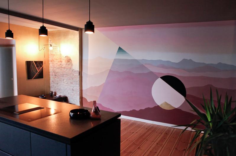Kitchen Island Facing Custom Mural