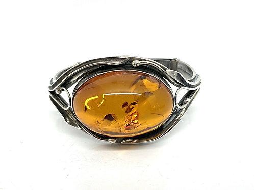 A Splendid Large Vintage PAM Designer 925 Sterling Silver Amber Bangle Bracelet