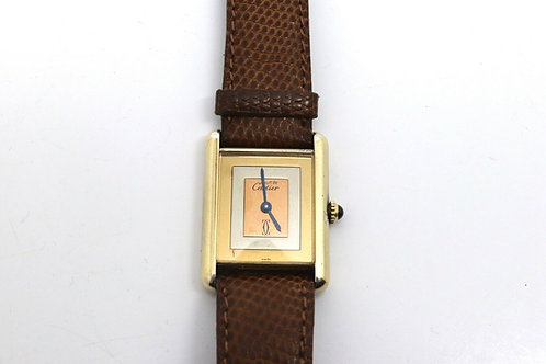 Lovely Vintage Ladies Cartier Must De Cartier 18k Gold Plated Silver Wristwatch