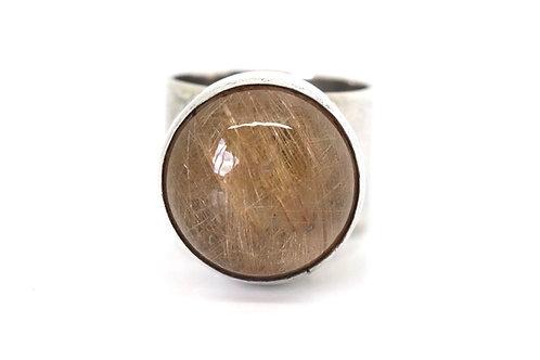 Superb Vintage Mondernist C1973 Sterling Silver Rutilated Quartz Statement Ring
