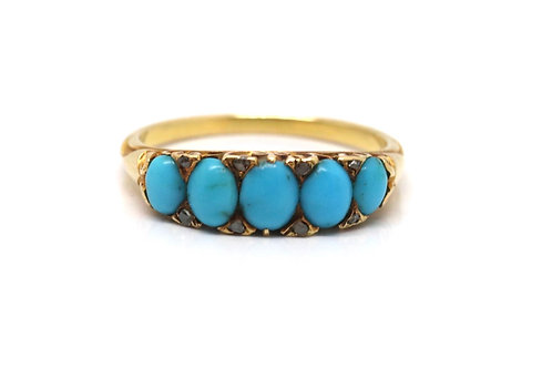 A Lovely Antique Victorian 18ct Yellow Gold Turquoise & Diamond Five Stone Ring