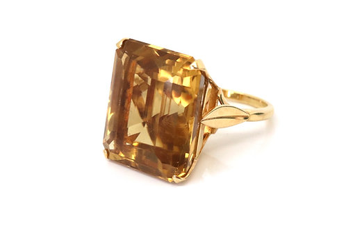A Monstrous Vintage Art Deco 1950's 18ct Yellow Gold 55ct Citrine Cocktail Ring