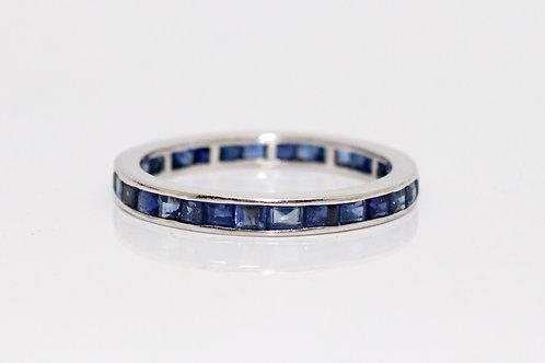 A Fine Vintage Art Deco Platinum 950 Sapphire Eternity Ring