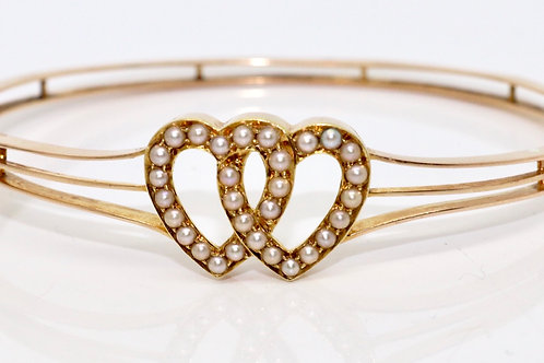 A Beautiful Antique Victorian 15ct 625 Rose Gold Double Heart Pearl Bangle