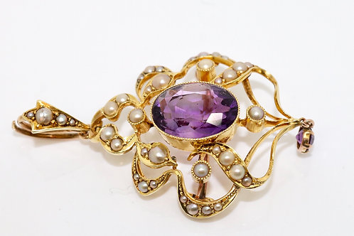 A Fine Antique Edwardian 15ct Yellow Gold Amethyst & Split Pearl Pendant Brooch