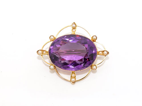 A Large Antique Edwardian 15ct Yellow Gold Amethyst & Split Pearl Brooch