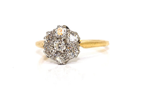 A Pretty Antique Art Deco 18ct 750 Yellow Gold 0.70ct Diamond Cluster Ring#16157