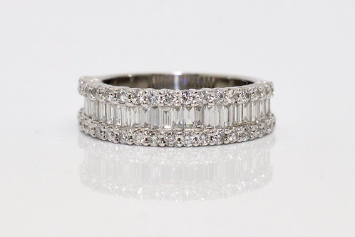 A Fine Modern 18ct Gold 1.50ct Diamond Baguette & Round Cut Half Eternity Ring