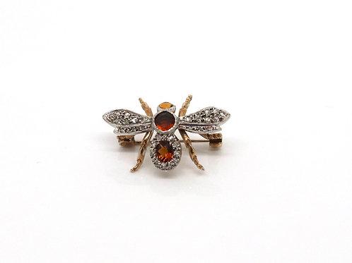 A Cool Vintage C1969 9ct 375 Gold Citrine & Rose Cut Diamond Fly Bug Brooch