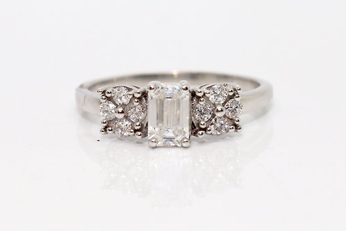 A Fine Modern 18ct White Gold 1.00ct Emerald Cut Diamond Cluster Ring