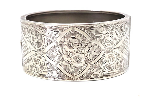 A Heavy Antique Art Deco C1934 Sterling Silver 925 Floral Bangle Bracelet 45g