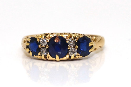 A Nice Antique Victorian 18ct Yellow Gold Sapphire & Diamond Cluster Ring #16185