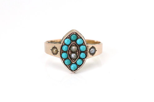 A Nice Antique Victorian Edwardian C1900 10ct Rose Gold Turquoise Navette Ring