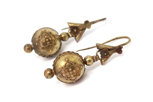 A Fantastic Pair of Antique Victorian 15ct Gold Detailed Ball Dropper Earrings