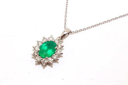 A Superb Modern 18ct White Gold Emerald & Diamond Cluster Pendant & Chain