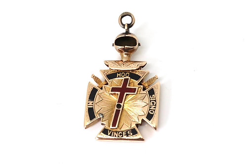 A Rare Antique Victorian C1898 14k Rose Gold Knights Templar Masonic Pendant