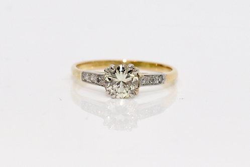 A Nice Vintage Art Deco 18ct 750 Gold & Platinum 0.50ct Solitaire Diamond Ring