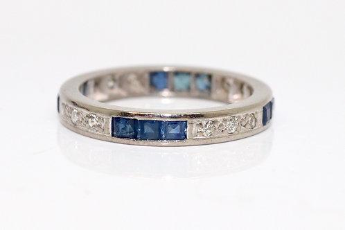 A Stunning Vintage Art Deco Platinum 950 Sapphire & Diamond Eternity Ring