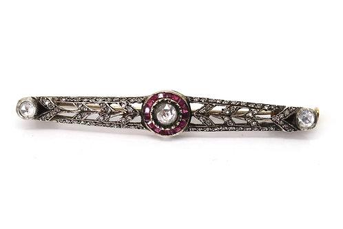 A Superb Antique Art Deco 18ct Gold Rose Cut Diamond Ruby Target Design Brooch