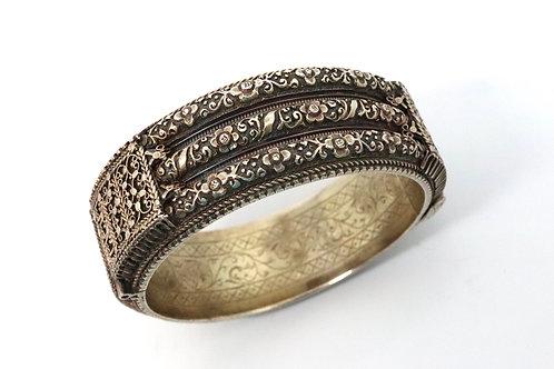An Interesting Antique Victorian Sterling Silver 925 Arabic Bangle Bracelet