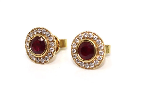 A Brilliant Pair of Modern 18ct Yellow Gold Ruby & Diamond Cluster Earrings