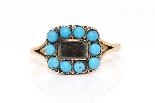 A Nice Antique Victorian 9ct Gold Turquoise Memorial Hair Mourning Ring