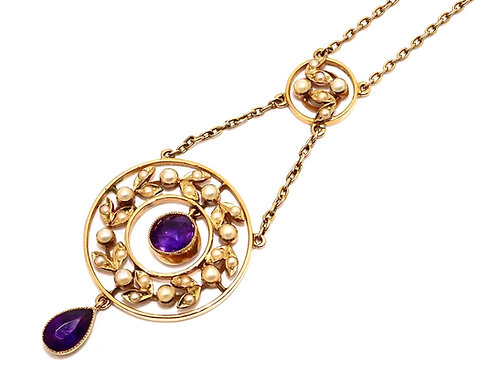 A Fine Antique Victorian C1900 15ct Gold Amethyst & Pearl Necklace & Fitted Box