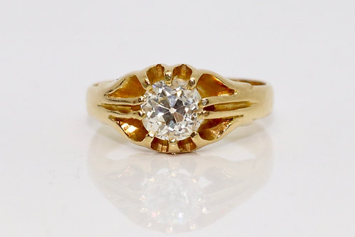 A Fine Antique Late Victorian 18ct 750 Yellow Gold 0.85ct Diamond Gypsy Ring