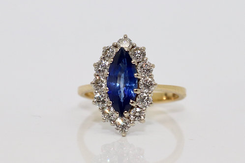A Crisp Vintage 18ct Gold 1.10ct Sapphire & 0.72ct Diamond Marquise Cluster Ring