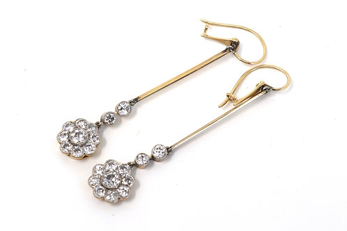 An Elegant Pair of Antique Art Deco 15ct Gold 1.50ct Diamond Daisy Drop Earrings